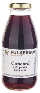 """10 ounce red grape juice bottle with white label """"Concord cold pressed grape juice"""" with gold cap."""